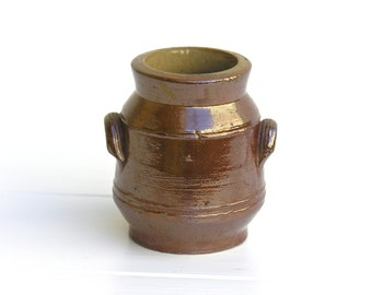 French Vintage Rustic Stoneware Pot For Jam Or Sauce, For Kitchen