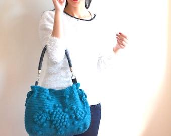 Handmade Petrol Blue  Knit Bag, Celebrity Style,Crochet winter  bag- shoulder bag- crochet bag-