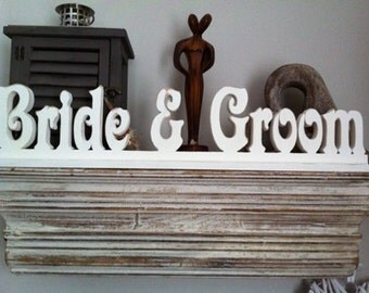 Handpainted Wooden Letters - Bride & Groom - Victorian Font Lettering