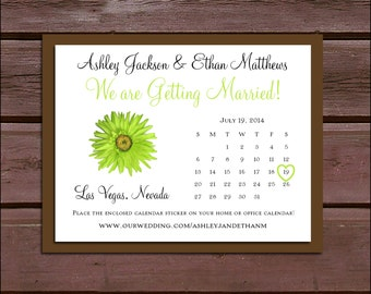 Lime Green Daisy Wedding Save the Date Cards Invitations