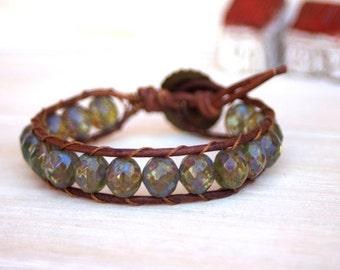 Boho Leather Bracelet - Beaded Bracelet - Beachy - Rustic Leather Bracelet - Czech Glass Beads - Boho Chic