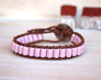Boho Leather Bracelet - Leather Bracelet - Czech Glass Beads