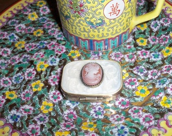 Cameo Pill Box Rose & MOP With Antiqued Brass Repro Free Shipping