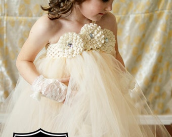 Vintage Ivory or Champagne Flower Girl Dress with Shabby or Hydrangea flowers