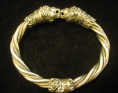FOR CELIA ONLY Vintage Sterling Silver Double Lion Head Twisted Ethnic Cuff Bracelet