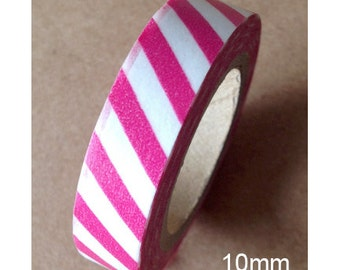 Washi Tape Raspberry Striped Skinny Washi Tape Raspberry Colored Skinny Washi Tape 11 yards 10 meters 10mm Dark Pink Striped