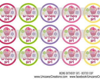 "15 M2MG Birthday Girl Cupcake Digital Download for 1"" Bottle Caps (4x6)"