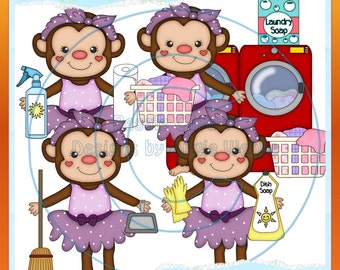 Cleaning Monkeys Purple Clipart (Digital Download)