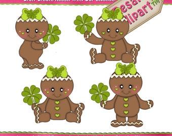 St. Patrick Ginger Girls Clipart (Digital Download ZIP File)