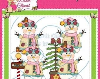 Snowman Girls Fun 3 Clipart (Digital Download)