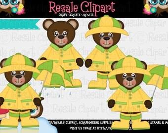 Rainy Days Bear 2 Clipart (Digital File Download)