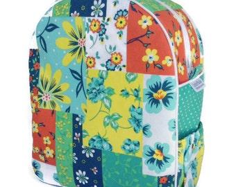 Girls Backpack, Preschool Backpack, Toddler Backpack, Flower Backpack, Tropical, Beach Bag, Quilted Backpack