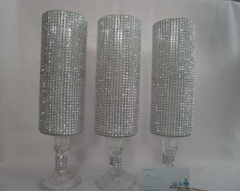 """Reserved for Edith, 14 1/2""""  Crystal Covered Tall Pedestal Vase Wedding Bouquet Centerpiece Vases"""