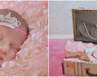 Baby Girl Newborn or Baby Princess Crown Headband on Skinny Elastic