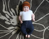 Crochet Baby Beanie Striped Kids Hat Orange Brown Blue Fall Winter Cap Boys Girls Unisex 6 to 9 Months Hats Baby Shower Gifts Holiday Fun