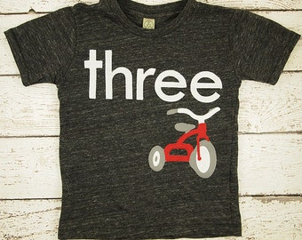 Tricycle Shirt first birthday second etc Organic Blend Birthday Tee trike red tricycle party boys birthday shirt