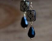 Floral Black Bead Earrings Black Drops Etched Beads Black Earrings Boho Chic Bohemian Earrings - E259