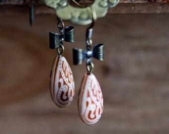 Floral Drop Bow Earrings Orange Bohemian Earrings Tiny bowtie Peach Teardrop Earrings Boho Chic - E244