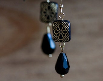 Floral Black Bead Earrings Black Drops Etched Beads Black Earrings Boho Chic Bohemian Earrings - E259