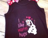 Olaf I Like Warm Hugs Frozen Girls tank dress