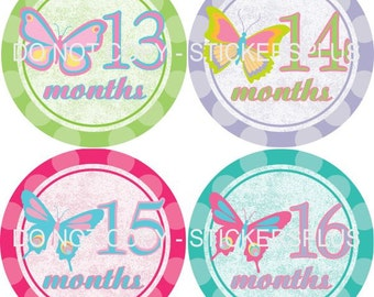 2nd Year Baby Girl Month Stickers Monthly Baby Milestone Age Stickers Second Year Butterfly Butterflies Pastel Dots 13-24 Months Photo Prop