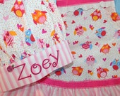 Owl Apron and Chef Hat with Personalized Embroidery - Pink Owls and Ruffles - Girls Full Apron All Sizes