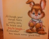 Get well soon after tonsils are removed card by hallmark vintage on