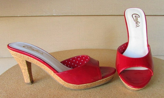 vintage candies red patent cork platform heels by catlady531