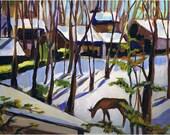 "Winter Landscape Painting on Canvas, Original Art, Snow Scene with Deer, 9 x 12"""