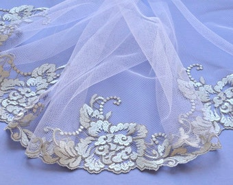 Silver Lace Trim, Embroidered Bridal Lace Trim, Glittering Silver Lace Trim, Wedding Lace Trim