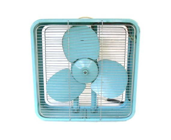 Electric Box Fan : Turquoise box fan westinghouse metal vintage electric