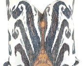 Nate Berkus Blue, Green, Grey and Gold Ikat Decorative Pillow Cover, Square, Eurosham or lumbar pillowAccent Pillow, Throw Pillows,