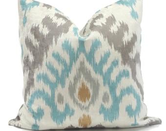 Kravet Aqua Gray Velvet Ikat Decorative Pillow Cover Lumbar pillow Throw Pillow, Accent Pillow, Toss Pillow, Pillow cushion, Pillow Sham