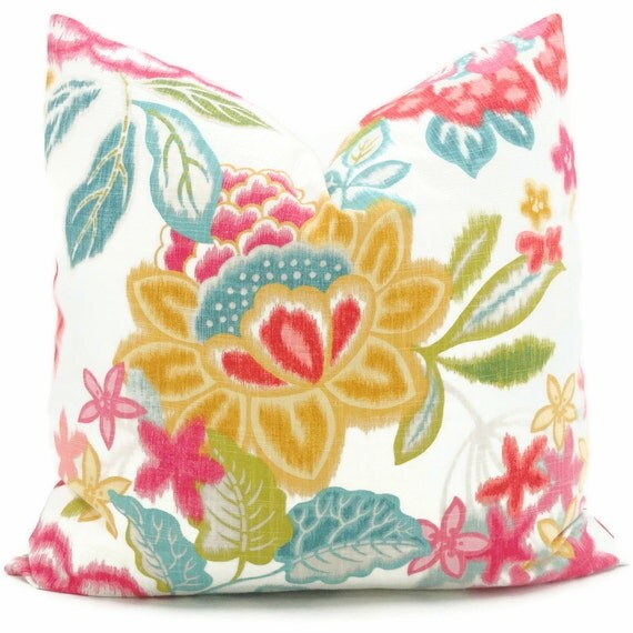 Brightly Colored Pink Turquoise Gold Floral Decorative