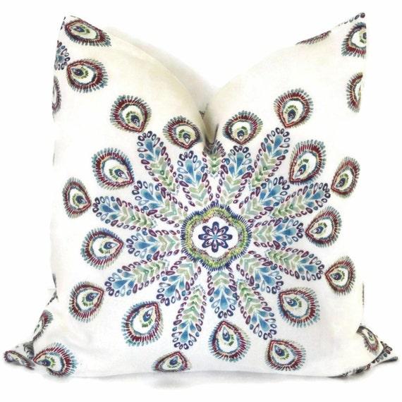 SALE. Duralee Peacock Sunburst  Decorative Lumbar Pillow Cover, Accent pillow, Throw Pillow, Pillow Case
