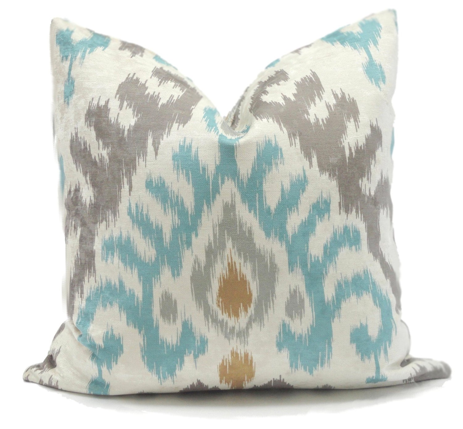 Decorative Throw Pillows Etsy : Kravet Aqua Gray Velvet Ikat Decorative Pillow Cover Lumbar