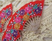 Appliques Embroidered Asian Fan Supplies Trim (6)