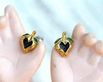 Tiny Strawberries Earrings in Black and Golden