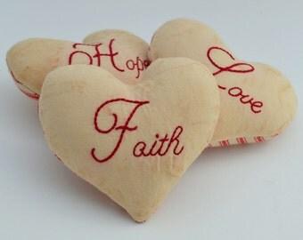 Faith Hope Love Decorative Pillows - Valentines Day Bowl Fillers - Wedding Decor - Primitive Heart Tucks - 1 Corinthians - Red Ticking
