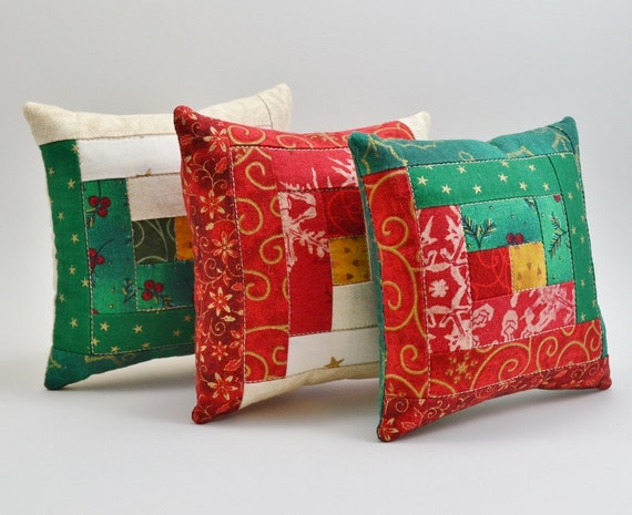Christmas Colors Log Cabin Decorative Pillows by RyensMarketplace