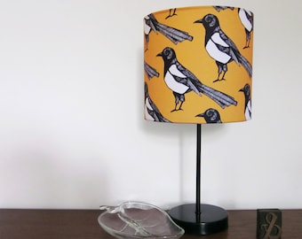 Handmade Magpie Lampshade - magpie light - yellow lampshade  - bird light - magpie - ceiling lampshade - table lampshade - statement light