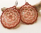 Glowing Heart Mandala earrings, beaded, geometric