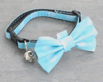 Cat Collar - Baby Blue Polka Dot - Matching Bow Tie and Flower Available