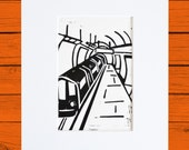 London Underground linoprint with mount
