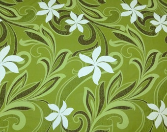"Hawaiian Tahitian Fabric, Green, White & Brown Tiare Print - 45"" wide, 2 yd (Other Colors Available)"