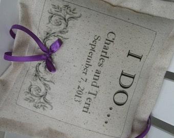 Ring Bearer Pillows Personalized, Custom Lettering, Wedding, Flower Girl, Pillows, Purple, Eggplant, Purple Ring Bearer Pillows