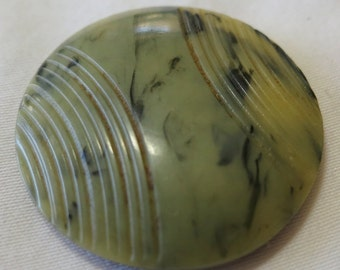 """RESERVED 1 Vintage Bakelite button, sage green background with gray mottling and etched design. 1"""" in diameter. PFM13.4-7,5-4."""