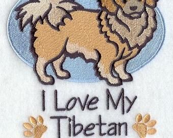 I Love My Tibetan Spaniel Embroidered Flour Sack Hand/Dish Towel