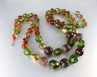 Fall Lucite Necklace Autumn jewelry, Two Strand Moss Green Topaz Gold, vintage West Germany
