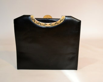 1970s Black Square Gold Tone Accents Kelly Bag by Original by Caprice